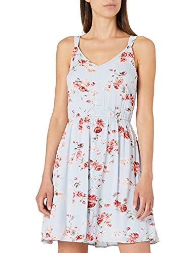 ONLY Damen ONLKARMEN S/L Short Dress AOP WVN NOOS Kleid, Cashmere Blue/AOP:Rose Flowers, 34