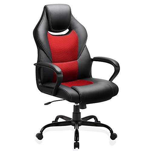 BASETBL Bürostuhl Racing Stuhl Gaming Stuhl Sessel Schreibtischstuhl Ergonomisch Drehstuhl Sportsitz bürostuhl mit Rückenlehne, Wippfunktion, Höhenverstellung, gepolsterter Armlehne Chefsessel Rot