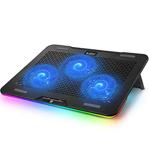 Pccooler Laptop Cooling Pad, RGB Laptop Cooling Stand for 12-17 Inch Gaming Laptop with 3 Powerful Quiet Blue LED Fans & 3 Angles Adjustable - Touch Control Multiple Light Modes - Dual USB 2.0 Ports