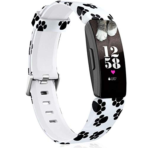 Maledan Bands Compatible with Fitbit Inspire HR/Inspire 2/Inspire/Ace 2, Fadeless Pattern Printed Strap Replacement Band for Inspire HR Fitness Tracker and Ace 2, Paw Print, Small