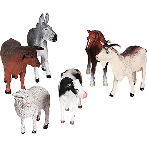 DOYIFun Pack of 6 Realistic Farm Animal Models Toy Set, Realistic Animal Figures Educational Learn Cognitive Toys Birthday Gifts for Toddlers