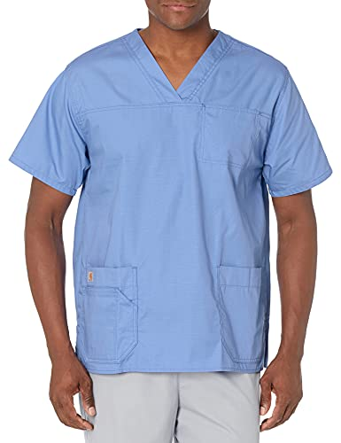 Carhartt Ripstop Men's Multi-Pocket Scrub Top, Ceil Blue, 2X-Large