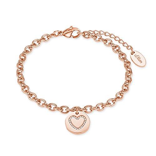 s.Oliver Damen Armband 17+3cm Herz Edelstahl IP Rose veredelt mit Kristallen von Swarovski