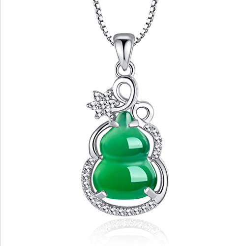 Olaffi 925 Sterling Silver Synthetic Temperament and personality chalcedony gourd pendant tourmaline white copper-plated white gold jade Necklace Nursing Pendant Necklace