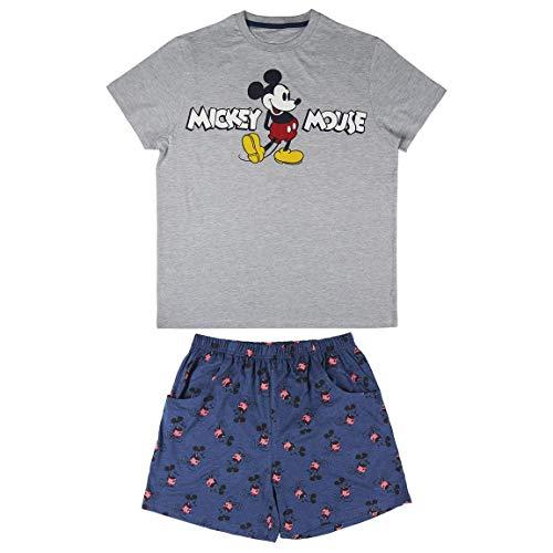 Cerdá Pijama Hombre Corto Mickey Mouse-Talla L-Color Gris
