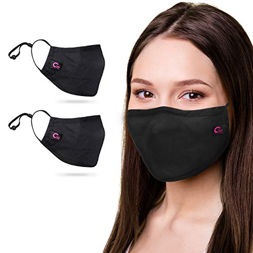 Copper Infused Face Mask With Extra Filter Pocket Protection Layer - Reusable, Washable, 3D Fit for Women (12. Black (2 Pack))