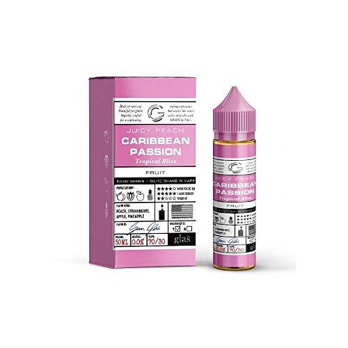 Caribbean Passion E-Liquid (DIY)-Überaroma!- Glas Basix-leckerer Obstsalat, fruchtige Mischung aus Erdbeeren, Pfirsich, Ananas und Apfel - 50 ml 70VG/30PG - 0 mg Nikotin - für E-Zigarette/E-Shisha