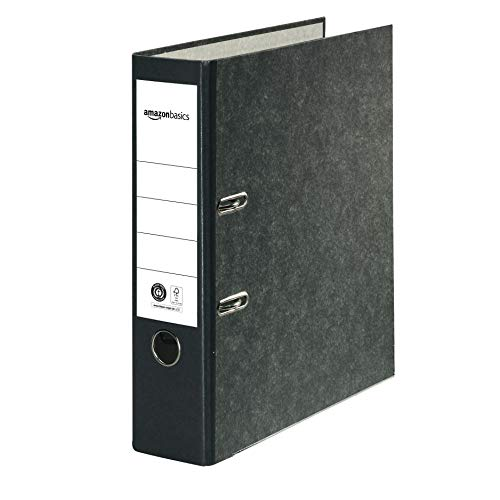 Amazon Basics – Aktenordner, Kaschierung aus Wolkenmarmor-Papier, FSC-zertifiziert, A4, Rücken 80mm breit, 20Stück, Schwarz