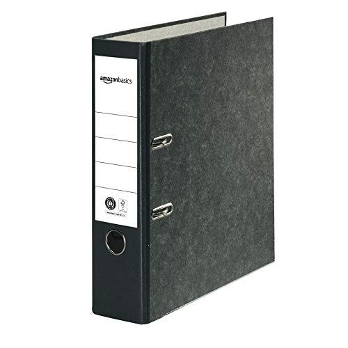 AmazonBasics - Archivador de palanca, cubierta de papel nube de mármol, certificado FSC, A4, lomo de 80 mm, paquete de 20, negro
