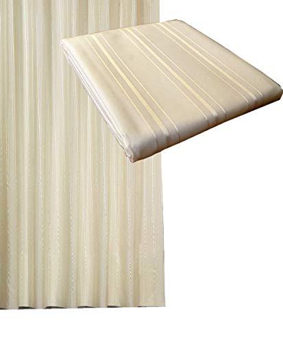 Textil Duschvorhang 240x200cm Crem in sich gestreift inkl. Ringe / Creme