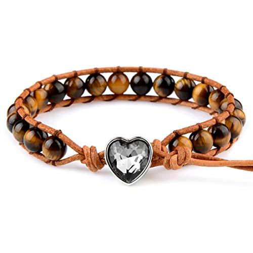 Jespeker pulsera de cordón de cuero en forma de corazón con cuentas de piedra oscura natural genuina de 6 mm para mujeres y hombres