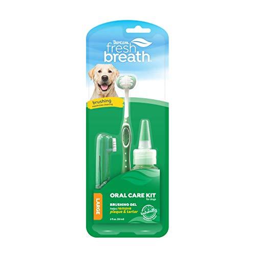 Haleine Fraîche de TropiClean Kit de Soin Buccal pour Chiens - Élimine plaque & tartre - brosse à dents TripleFlex, brosse à doigt pour les gencives sensibles & gel de brossage - 59 ml