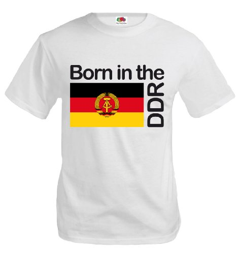 T-Shirt Born in The DDR-XXXL-White-z-Direct