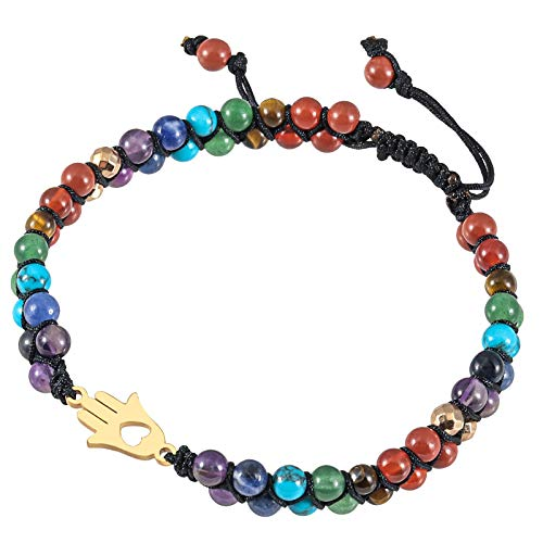 Amogeeli 7 Chakra Crystal Stone Braided Rope Bracelet for Reiki Healing Anxiety Relief Meditation, Double Layer Adjustable Bracelet for Women Men, Palm