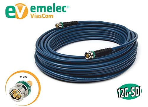 Emelec VíasCom EQ 153005A - Conexión vídeo 4K 12G-SDI 0.50 m con BNC 0.8/3.75 (conductor unifilar) color azul