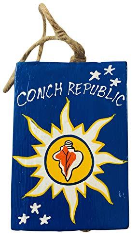 Conch Republic Key West Florida Ornament Souvenir Handpainted Wooden Decoration, 4 Inches