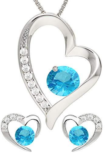KianaLice Ocean Heart 925 Sterling Silber Schmuckset mit Hellblau Türkis Zirkonia Stein bestehend aus Herz Anhänger, Ohrstecker und 45 cm Damen Halskette im Etui