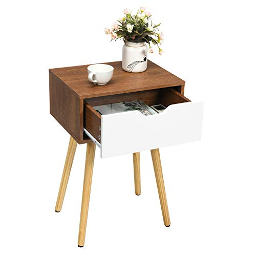 COSTWAY Table de Chevet Moderne, Bout de Canapé avec Tiroir en Bois Massif, Conception Contemporain, Mobilier Multifonction pour Chambre, Salon, Entrée, Bureau etc.