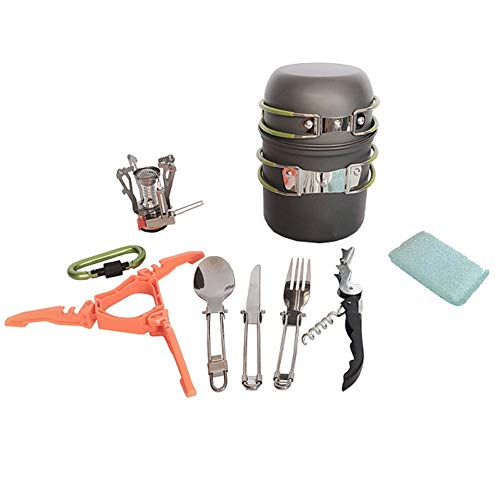 Camping Cookware Kit Camping Pot Outdoor Cooking Set Mountaineering Backpacking Tableware Utensils Kit Foldable for Travel Hiking Picnic
