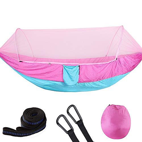 DW Hangmat Camping Draagbare Dubbele Boom Hangmat Outdoor Indoor Boom Hangmat Binnen en Buiten Zachte Stof Roze en Blauw Tweepersoonsbed voor Outdoor en Indoor Gebruik 290×140cm