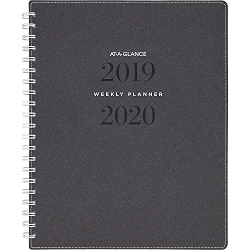 """AT-A-GLANCE 2019-2020 Academic Year Weekly & Monthly Planner, Large, 8-1/2"""" x 11"""", Signature, Heather Gray (YP905A45)"""