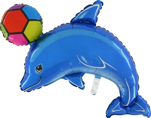 Le Dauphin Bleu de 45 pouces Avec le Ballon de Papier d'aluminium de Boule - Se gonfle Avec l'Air Ou l'Hélium [le Jouet]