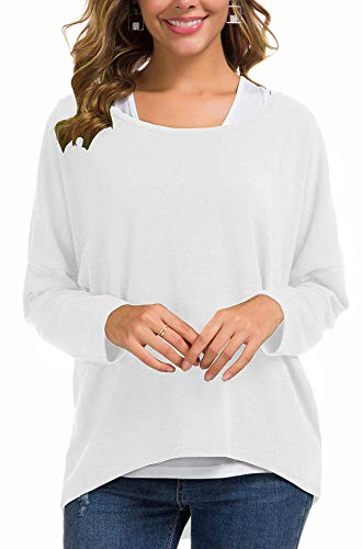 UGET Women's Oversized Baggy Tops Loose Fitting Pullover Casual Blouse T-Shirt Sweater Batwing Sleeve Small White