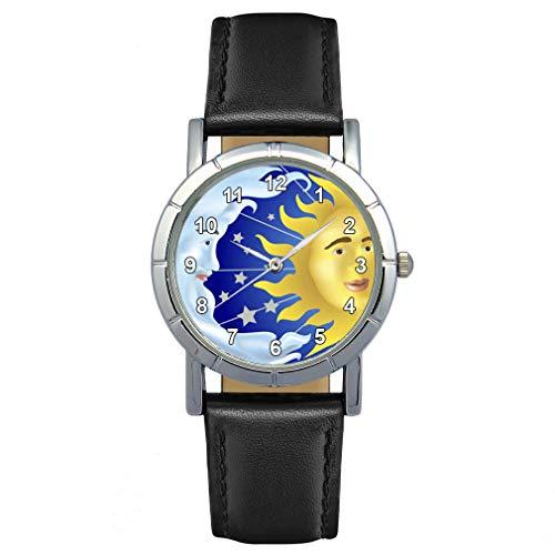 Timest - Sol Luna y Estrellas - Reloj para Mujer con Correa de Cuero Negro Analógico Cuarzo SA2358