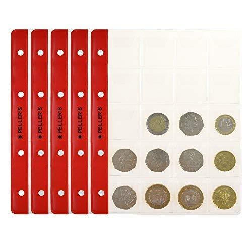 10 Feuilles pour Collection de Pièces de monnaie, 35mm x 40mm, pour Classeur M. 20 Pochettes pour Monnaies Idéal pour Les Pièces en Euros et Autres jusqu'à 31 mm de Diamètre