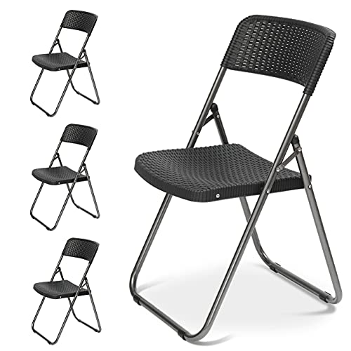Sekey Garden Patio Furniture Folding Chairs, Rattan Look Plastic Outdoor Bistro Dining Chairs, Heavy Duty Durable Steel Frames for Indoor & Outdoor, 4-Pack Black.