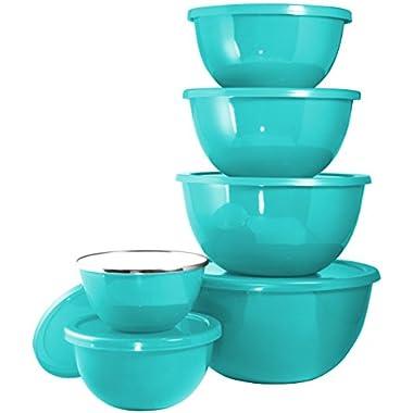 Calypso Basics by Reston Lloyd 12-Piece Enamel on Steel Bowl Set with Airtight Lids, Turquoise