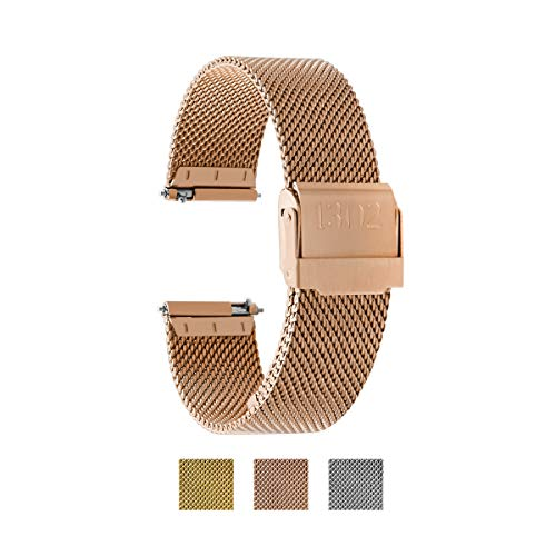 Women's Watch Strap, Quick Release Watch Strap, Women's Stainless Steel Watch Band, Replacement Watch Strap, Women's Mesh Watch Band, 18mm Watch Strap, 14mm Watch Strap (14mm, Rose Gold)
