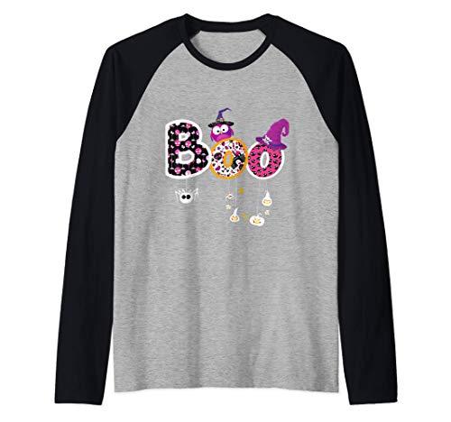 Boo Disfraz de Halloween Arañas Fantasmas Calabaza Sombrero Camiseta Manga Raglan