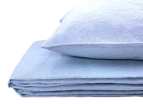 JOWOLLINA Bettwäsche-Set, Landhaus, Soft Washed Finish, Leinen (Double Blue, 135x200 cm,40x80 cm)