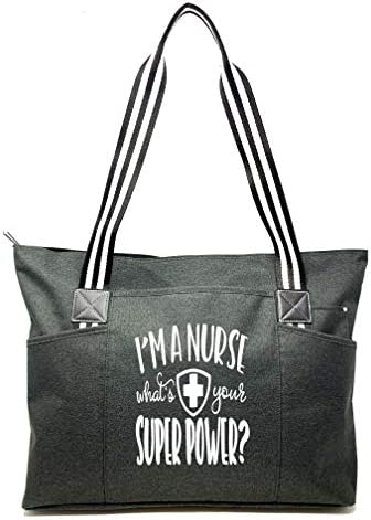 Large Nursing Zippered Tote Bags with Side Pockets for Nurses Perfect for Work Gifts for CNA product image