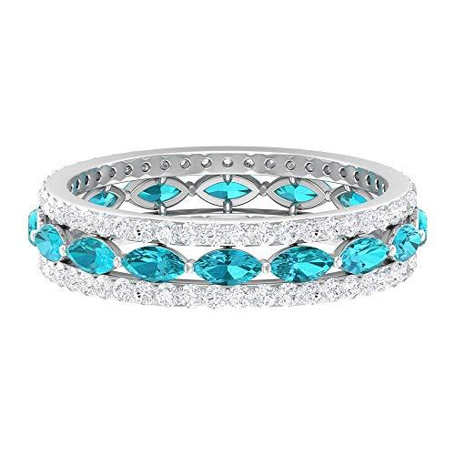 Anillo de diamantes y turmalina de paraiba verde creado en laboratorio de 2 CT, alianzas de boda para mujer, 14K Oro blanco, paraiba green lab creado-5, Size:EU 60