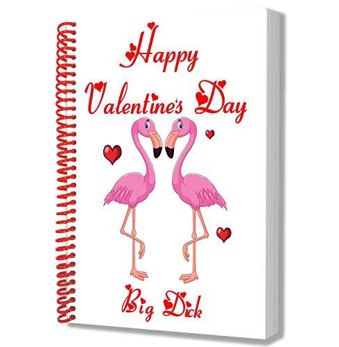 Cuaderno A5 – Bloc de notas – Regalo de San Valentín para él o ella – Lindo flamenco rosa amor – Elige a tus compañeros amantes apodo Big-Dick