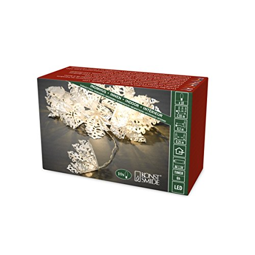 Konstsmide 3130-103 LED Dekolichterkette, weiße Papiersterne / für Innen (IP20) / 6h Timer / 10 warm weiße Dioden / Batteriebetrieben: 3 x AA 1.5V (exkl.) / transparentes Kabel