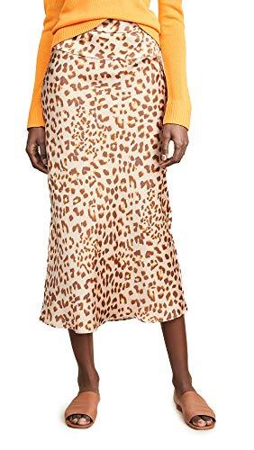 Free People Women's Normani Bias Printed Skirt, Camel Combo, 4