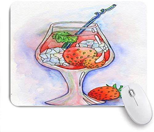Mauspad, rote Bar Cocktail EIS Erdbeeren gezogen Alkohol Alkohol Rum Getränk Getränk Champagner Zitrusglas kalt, 9,5 x 7,9 Zoll