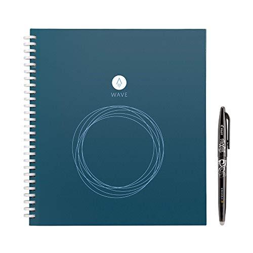 Rocketbook Wave smarter wiederverwendbarer Notebook − Standard / Größe - lade Notizen mit der iOS-/Android-App hoch, leere dann alle Seiten in der Mikrowelle und starte neu