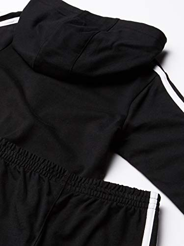 adidas boys Li'l Sport Fleece Zip Front Hoodie & Jogger Active Clothing Sweatsuit Set