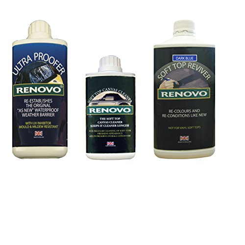 Renovo-REN-KIT3-Triple-Reinigungs-Kit Enthält weiches Top Erneuerer/Soft Top Ultra Proofer/Soft Top Cleaner, Leinwand Blau