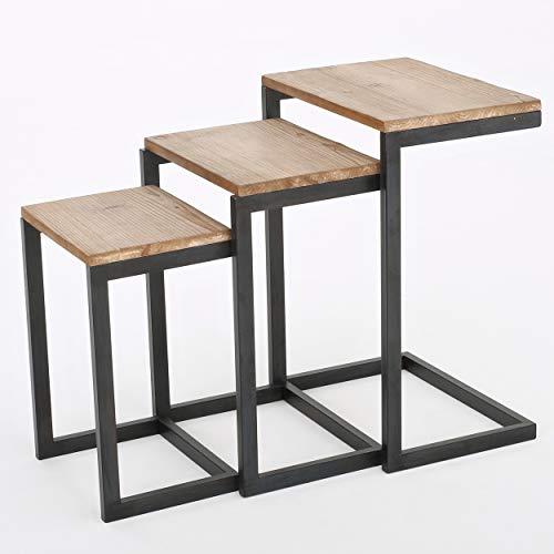 ARBR Heights ネストテーブル おしゃれ サイドテーブル 3点セット 埋め込み式 ローテーブル 北欧 メタル ベッドテーブル 天然木 コーヒーテーブル アンティーク 組み立て不要
