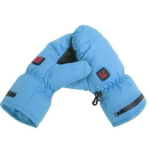 Children's Heating Gloves Winter Warm Waterproof Electric Heated Winter Gloves for Boys Girls Kids Skiing Snowboard Sport Outdoor,Blue,S-M