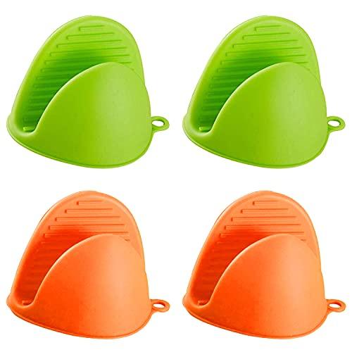 Guantes de silicona resistentes al calor para ollas de cocina con protector de dedos y pinzas, manoplas gruesas, mini manoplas para cocinar, hornear, microondas (verde, naranja)