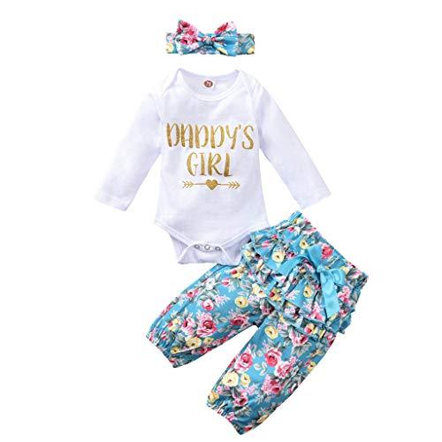 HWTOP Baby Mädchen Bekleidungsset Babybody Brief Strampler Blumenhose Rüschen Stirnband 3PCS Outfits Set, Weiß, 3-6 Monate
