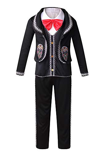 yolsun Mexican Day of The Dead Dress for Kids, Mariachi Costume Dress (S, Black)