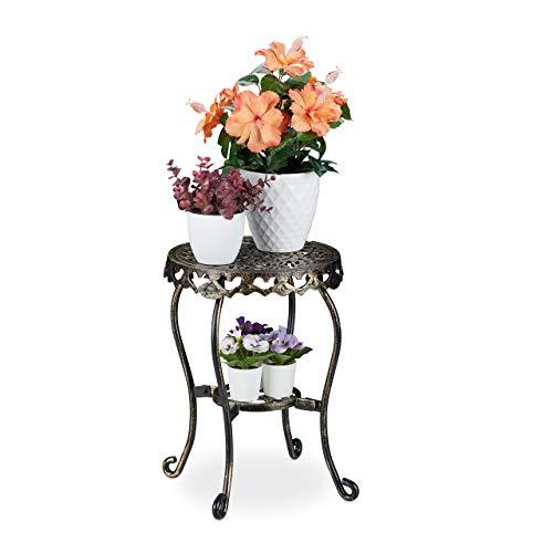 Relaxdays Blumenhocker Gusseisen, rund, antik, H x D: 41 x 36,5cm, kleiner Vintage Pflanzenhocker, innen & außen, bronze