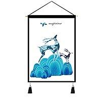 モダン 壁アート 掛け軸 鹿柄 魚柄 可愛い シンプル タペストリー 気分転換 壁掛け 新居祝い オシャレ クリスマス 書斎 居間 誕生日 新生活 子供部屋 リビング 壁掛けフック付き 敬老の日 45*65cm
